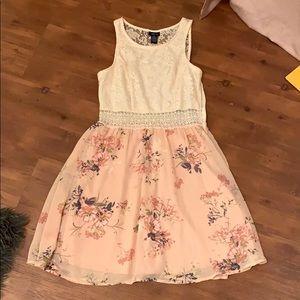 Pink Floral + Cream Dress